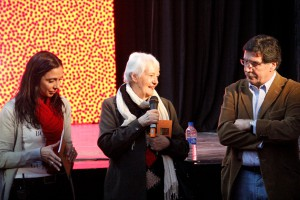 Verónica Parodi, directora  del área social educativa del ECuNHi, la escritora Laura Devetach, madrina del Festival y el Ministro de Educación de la Nación